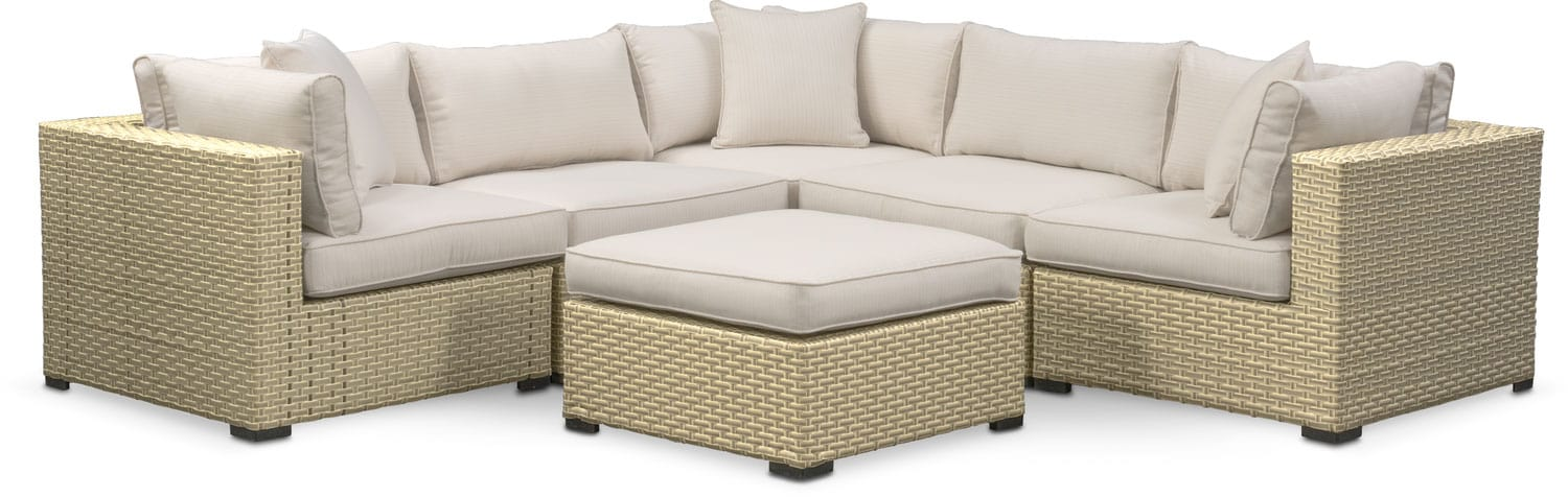 Regatta 5-Piece Outdoor Sectional and Ottoman Set - Cream