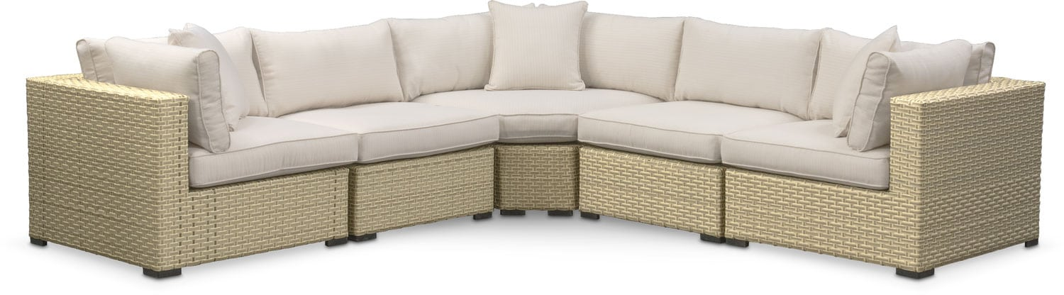 Regatta 5-Piece Outdoor Sectional with Wedge - Cream