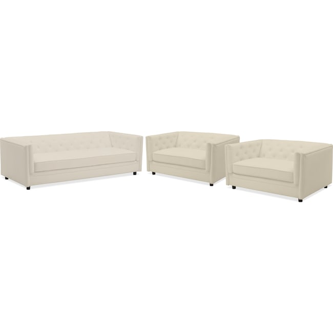 Gabe Sofa And Two Cuddler Chairs Set Ivory Value City