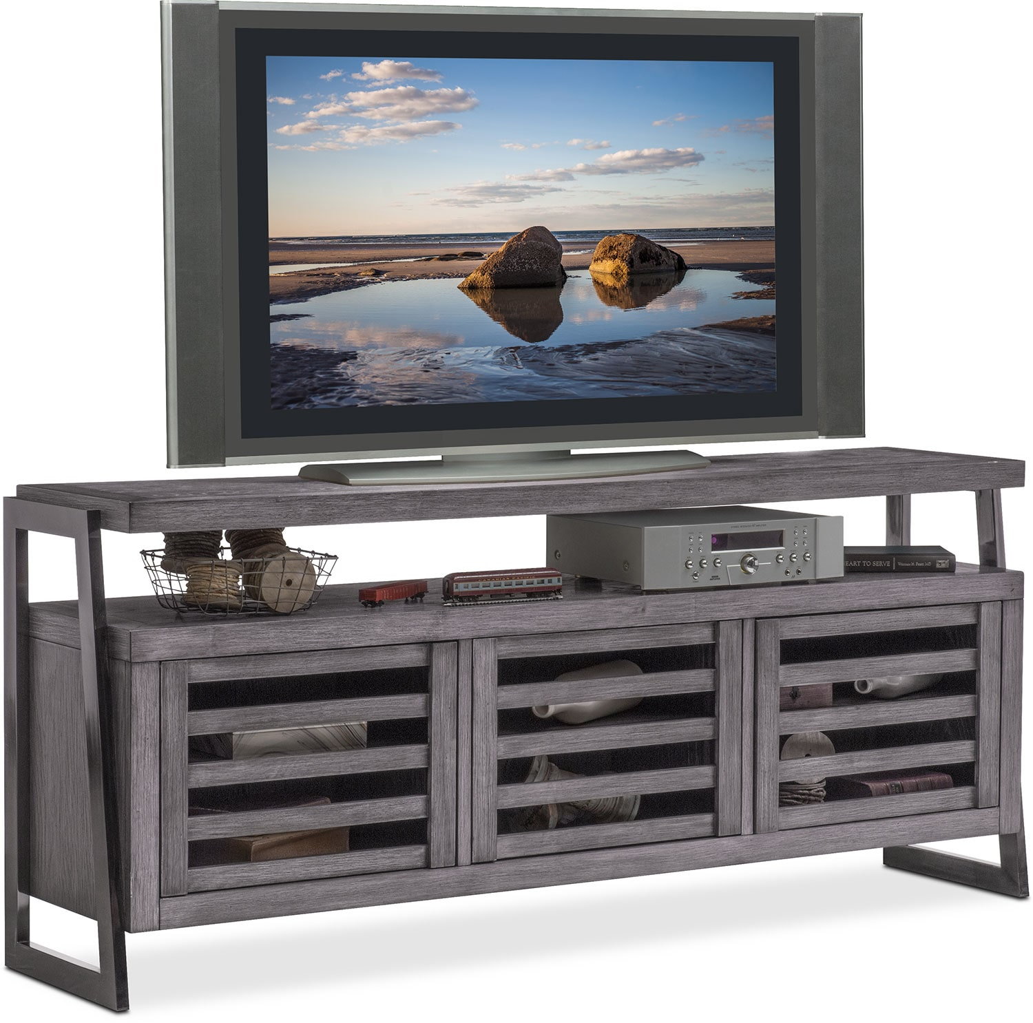 Donovan TV Stand Gray Value City Furniture - Tv stands