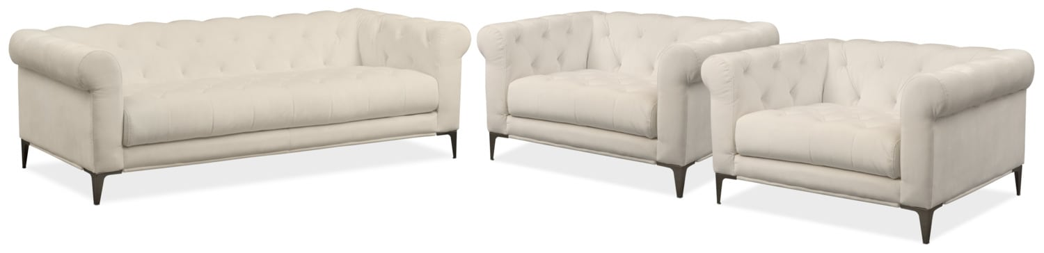 David Sofa and Two Cuddler Chairs Set - Ivory