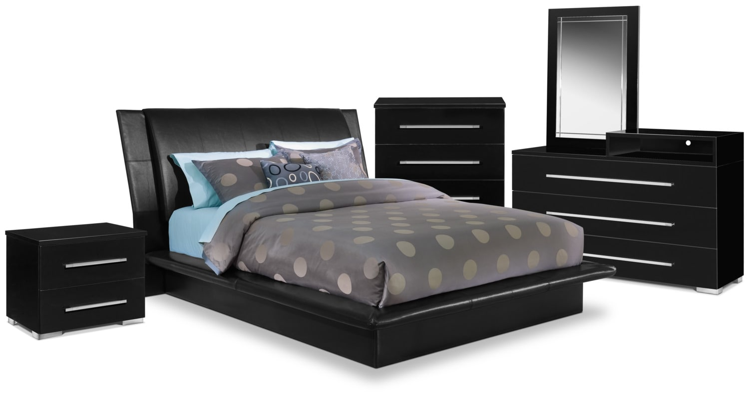 dimora 7piece queen upholstered bedroom set with media dresser black