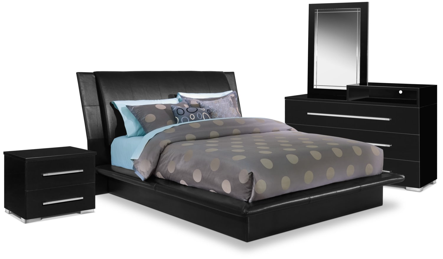 Dimora 6 Piece Queen Upholstered Bedroom Set With Media Dresser   Black