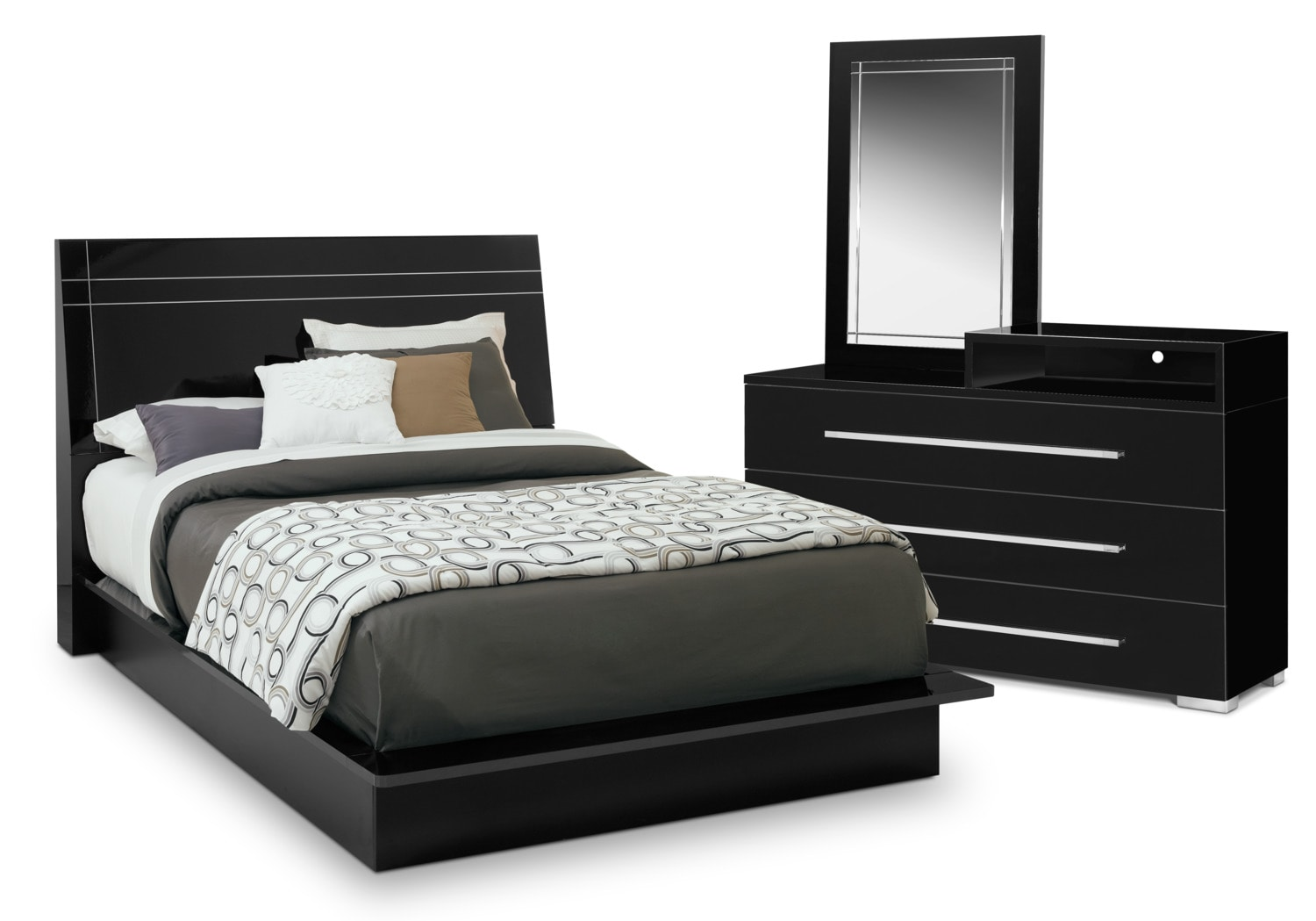 Dimora 5 piece queen panel bedroom set with media dresser black value city furniture and for Value city furniture bedroom set