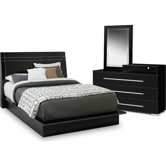 Dimora Piece Queen Panel Bedroom Set With Media Dresser Black - Cheap 5 piece bedroom furniture sets