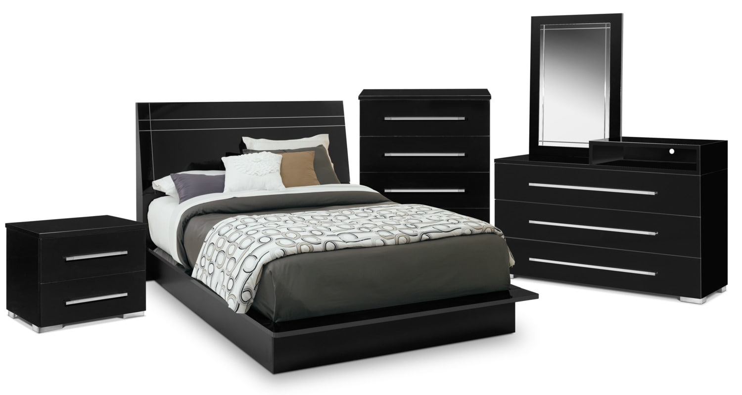 Bedroom Furniture - Dimora 7-Piece Queen Panel Bedroom Set with Media Dresser - Black