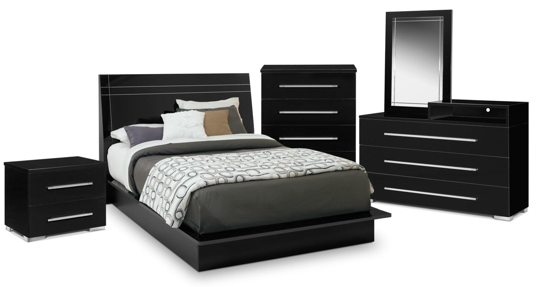 Bedroom Furniture   Dimora 7 Piece Queen Panel Bedroom Set With Media  Dresser   Black