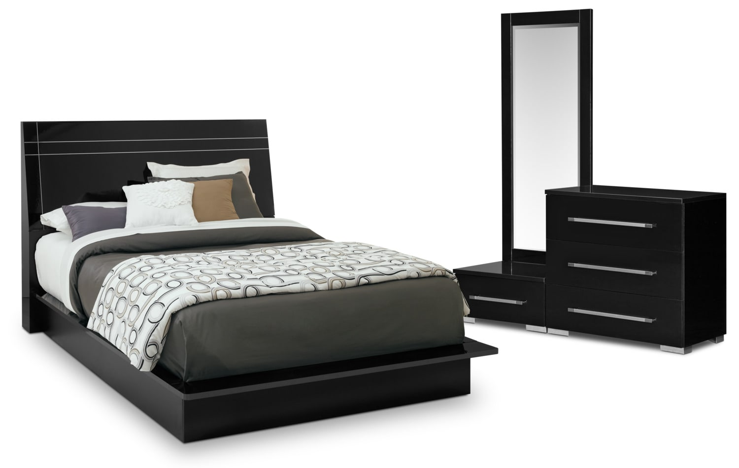 Bedroom Furniture   Dimora 5 Piece Queen Panel Bedroom Set   Black