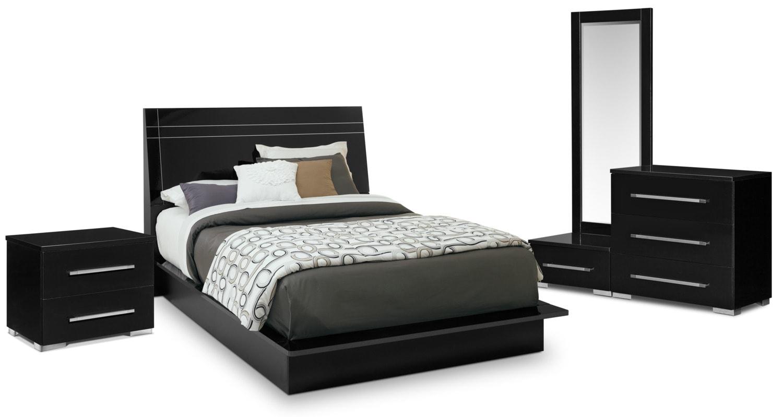 Bedroom Furniture - Dimora 6-Piece Queen Panel Bedroom Set - Black