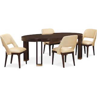 Savoy Oval Table and 4 Side Chairs - Merlot