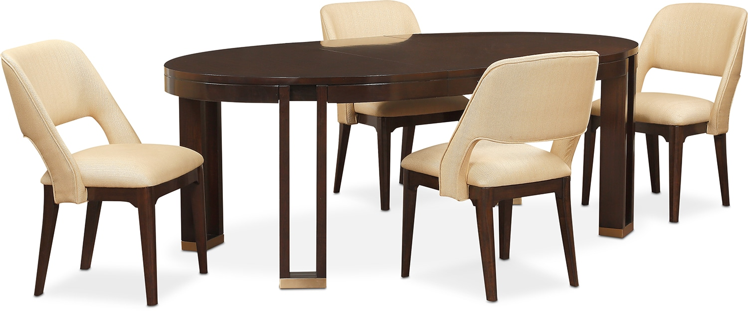 savoy oval table and 4 side chairs merlot