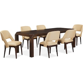 Savoy Table and 6 Side Chairs - Merlot