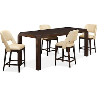 Savoy Counter-Height Table and 4 Upholstered Stools - Merlot