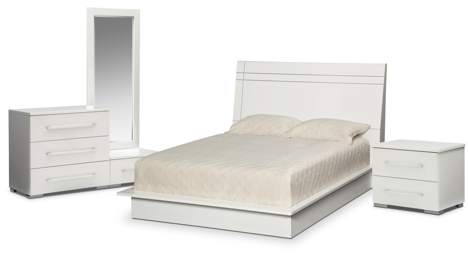 Bedroom Furniture - Dimora 6-Piece King Panel Bedroom Set - White
