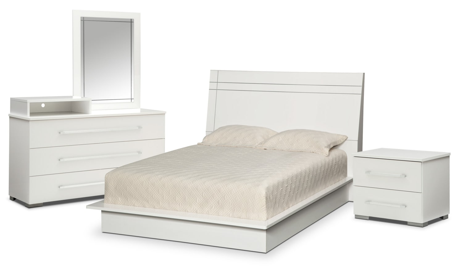Dimora 6-Piece Queen Panel Bedroom Set with Media Dresser - White