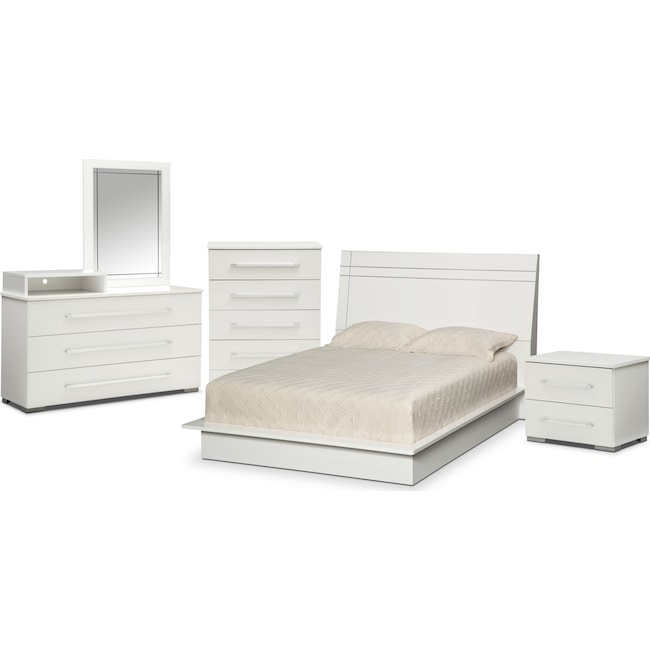 Bedroom Furniture - Dimora 7-Piece King Panel Bedroom with Media Dresser - White