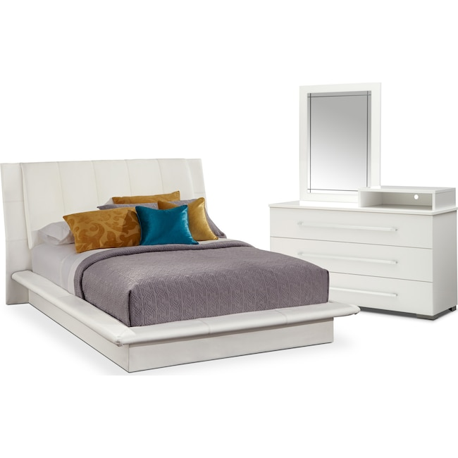 Bedroom Furniture - Dimora 5-Piece King Upholstered Bedroom Set with Media Dresser - White
