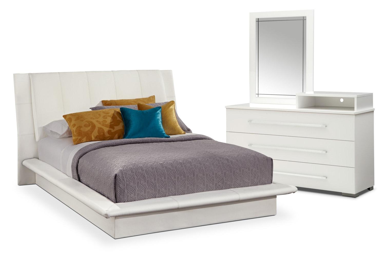 Dimora 5 Piece Queen Upholstered Bedroom Set With Media Dresser   White