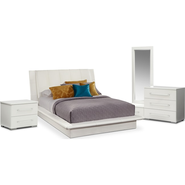 Bedroom Furniture - Dimora 6-Piece King Upholstered Bedroom Set - White