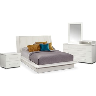Dimora 6-Piece Queen Upholstered Bedroom Set with Media Dresser - White