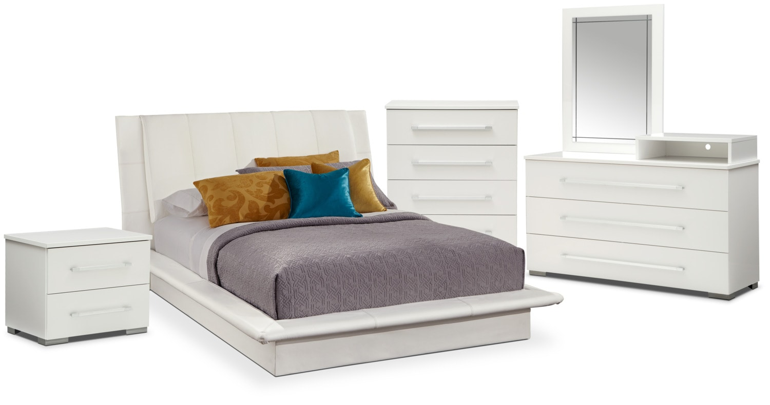 Bedroom Furniture - Dimora 7-Piece King Upholstered Bedroom Set with Media Dresser - White