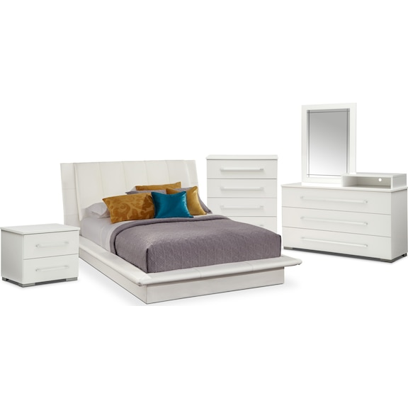 1 199 94 Dimora 7 Piece Queen Upholstered Bedroom Set With A Dresser White