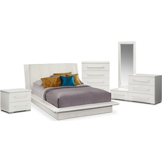 Dimora 7-Piece Queen Upholstered Bedroom Set - White