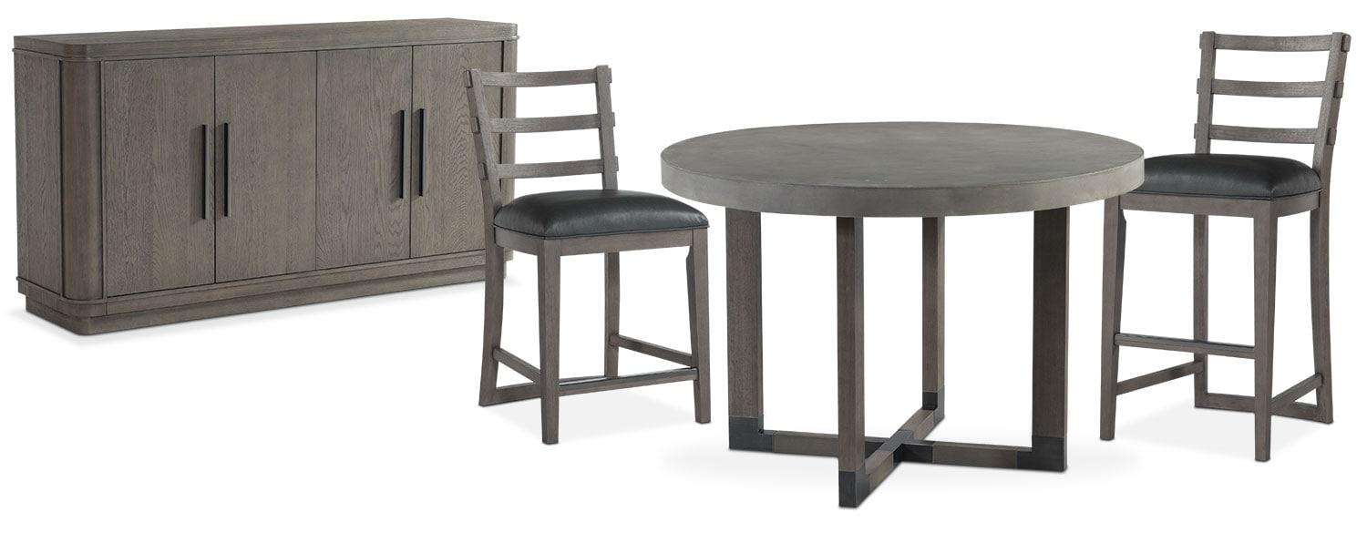 The Malibu Round Counter-Height Dining Collection - Gray
