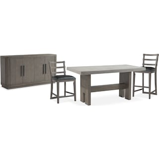 The Malibu Rectangular Counter-Height Dining Collection - Gray