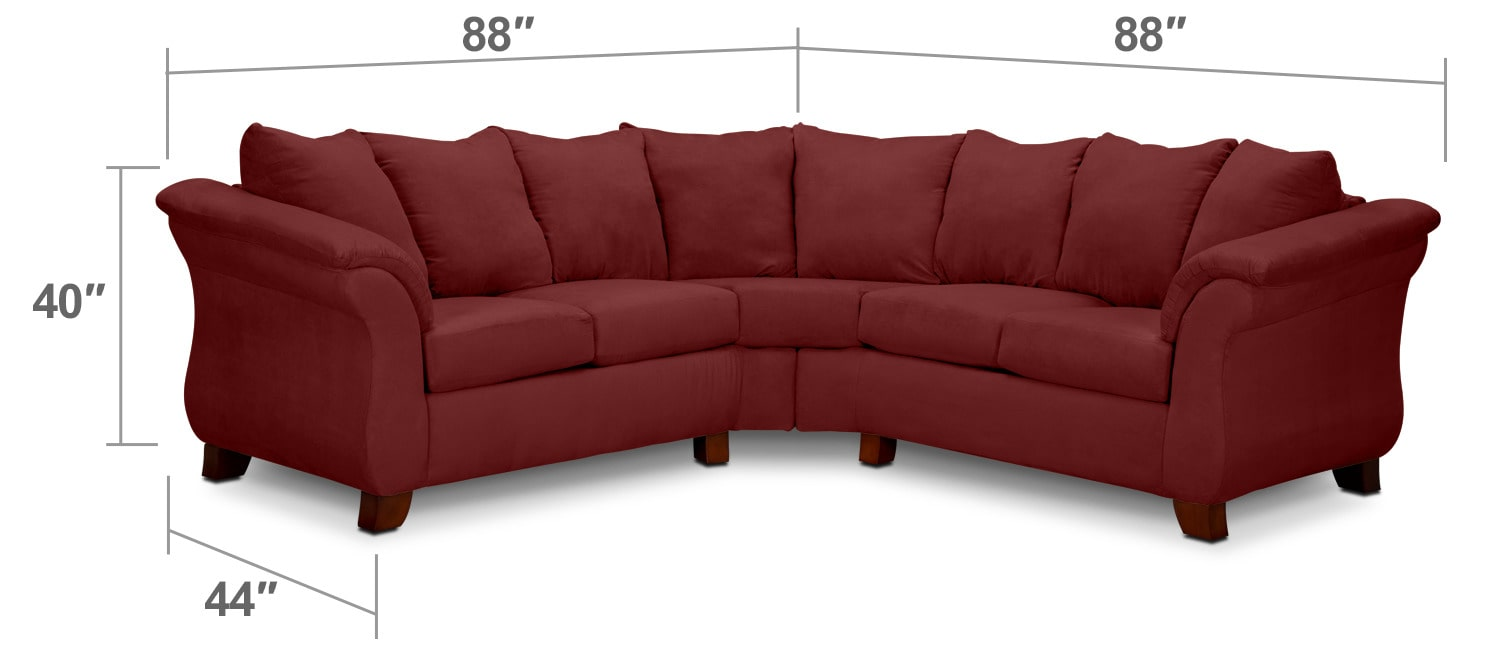 Living Room Furniture - Adrian Red 2-Piece Sectional - Red