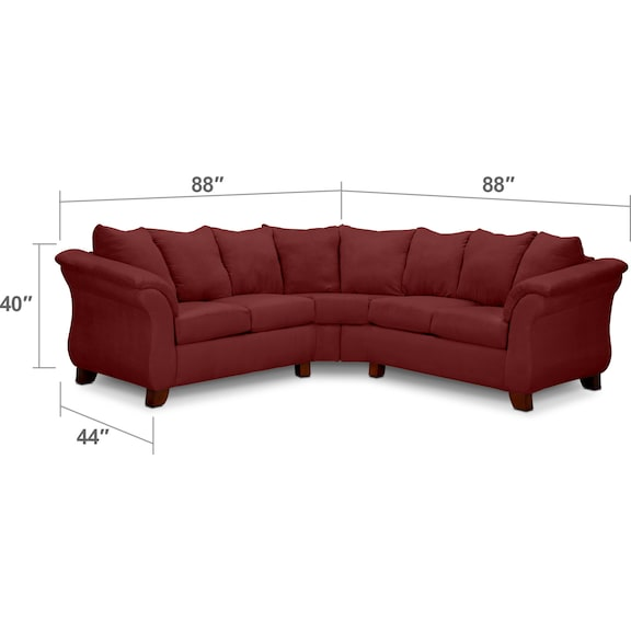 Adrian Red 2 Piece Sectional Red Value City Furniture