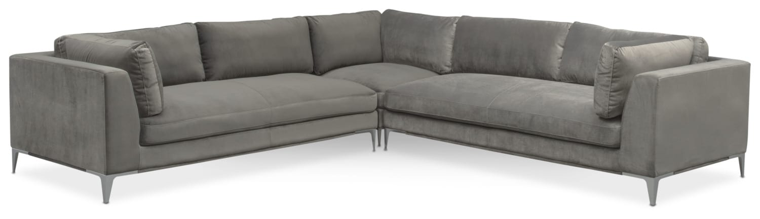 Aaron 3-Piece Sectional - Flannel  sc 1 st  Value City Furniture : value city furniture leather sectional - Sectionals, Sofas & Couches