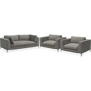 Aaron Sofa and Two Cuddler Chairs Set - Flannel