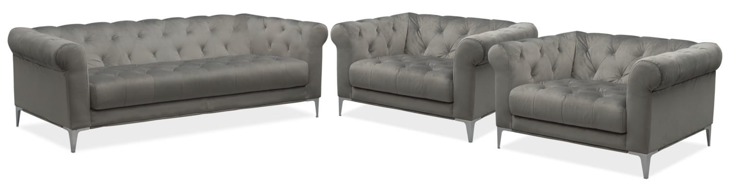 David Sofa and Two Cuddler Chairs Set - Flannel