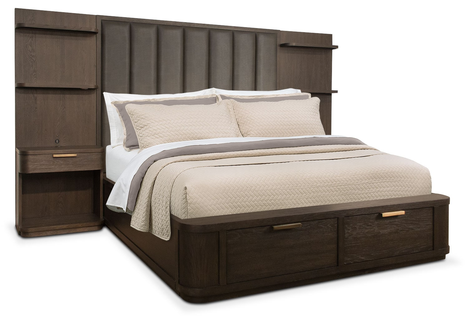 Malibu Queen Tall Upholstered Storage Wall Bed - Umber
