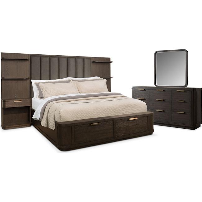Bedroom Furniture - Malibu 5-Piece King Tall Upholstered Wall Storage Bedroom Set - Umber