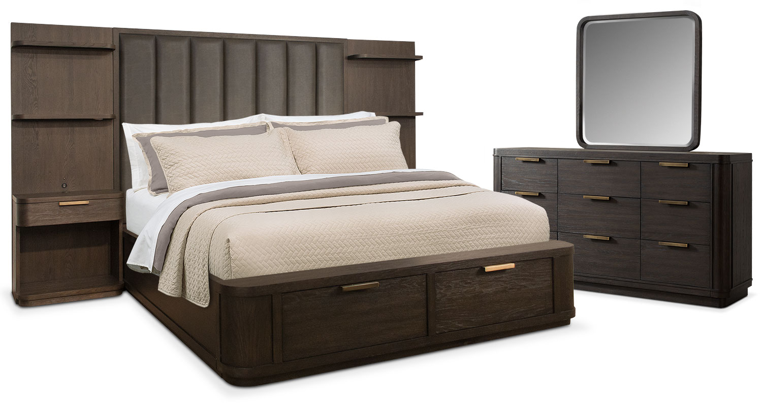 malibu 5piece queen tall upholstered wall storage bedroom set umber