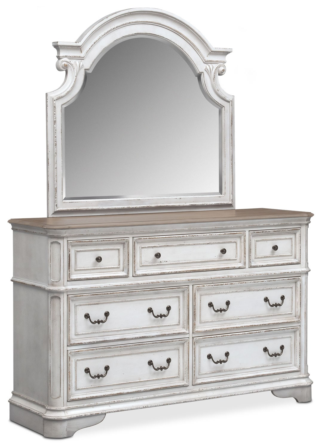 Marcelle Dresser And Mirror Vintage White Value City Furniture