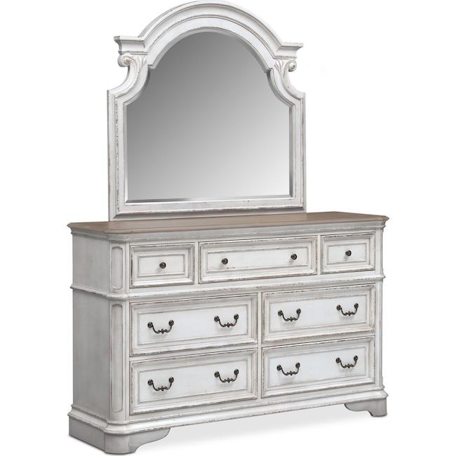 Bedroom Furniture - Marcelle Dresser and Mirror - Vintage White