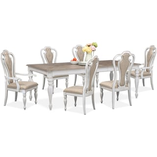 Marcelle Table, 4 Side Chairs and 2 Arm Chairs Set - Vintage White