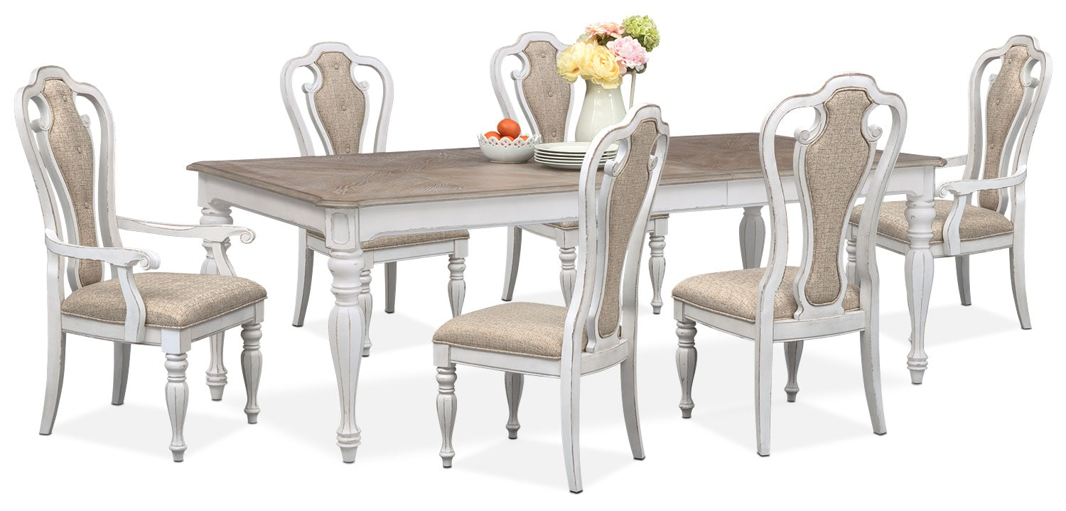 $1,899.93 Marcelle Table, 4 Side Chairs And 2 Arm Chairs Set   Vintage White
