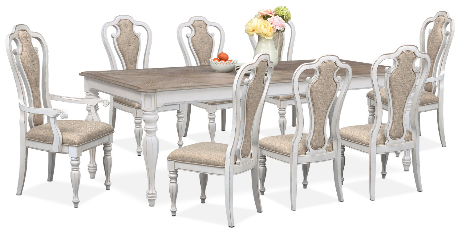 marcelle table 6 side chairs and 2 arm chairs set vintage white