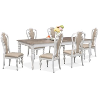 Marcelle Table and 6 Side Chairs Set - Vintage White
