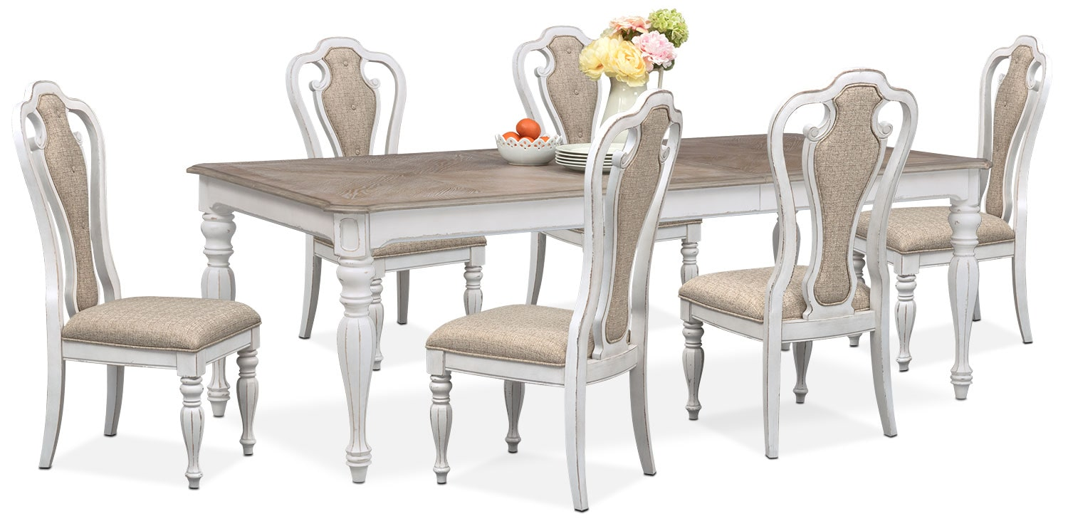 $1,799.93 Marcelle Table And 6 Side Chairs   Vintage White