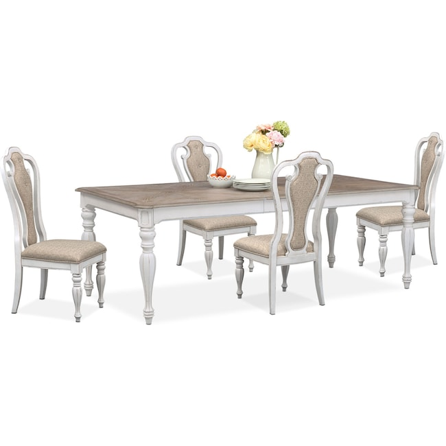 Dining Room Furniture - Marcelle Table and 4 Side Chairs Set - Vintage White
