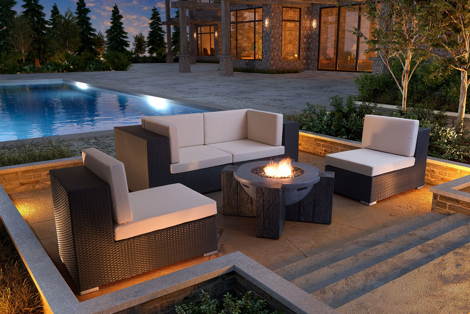 Wiley 3 Piece Outdoor Sectional Espresso Value City Furniture And Mattresses