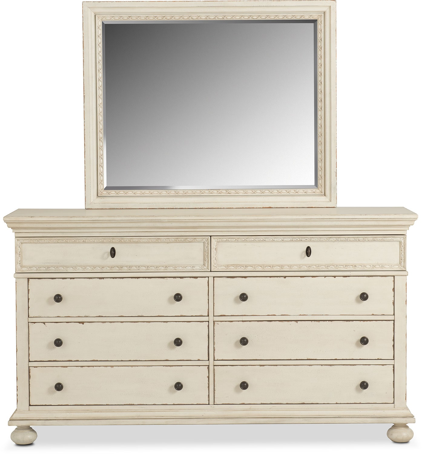 langham drawer dresser and mirror  white  value city furniture - click to change image