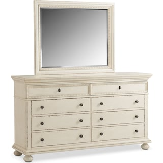 Langham 8-Drawer Dresser and Mirror - White