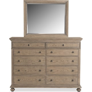 Langham 10 Drawer Dresser And Mirror Natural