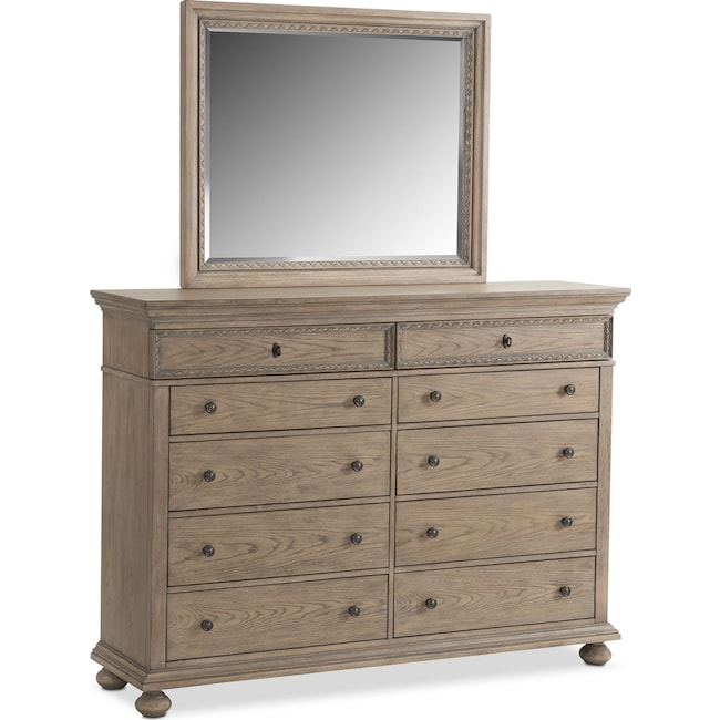 Bedroom Furniture - Langham 10-Drawer Dresser and Mirror